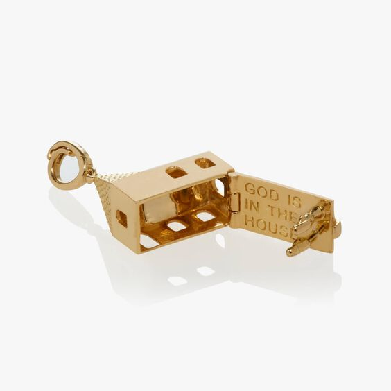 """18ct Gold """"God Is In The House"""" Charm 