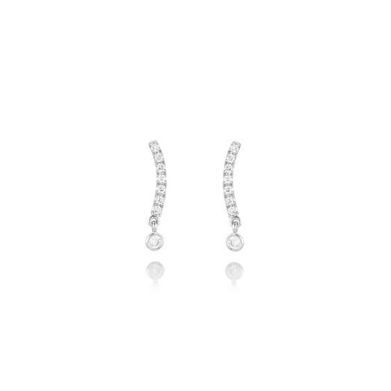 Fine Line 18ct White Gold Diamond Stud Earrings