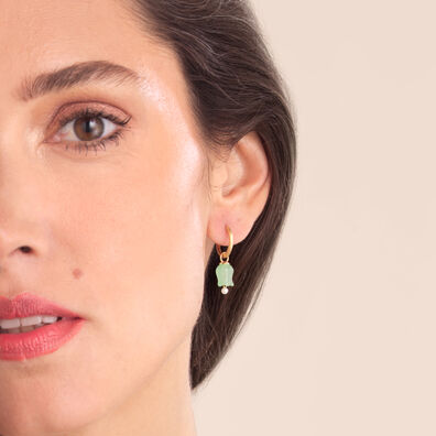 18ct Gold Jade Tulip Earring Drops