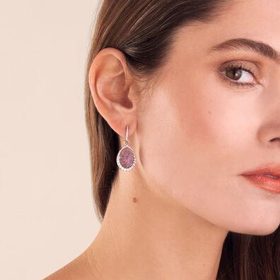 Unique 18ct White Gold Amethyst Diamond Earring Drops