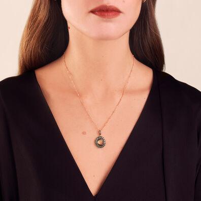 Dusty Diamonds 18ct Rose Gold Olive Quartz Pendant