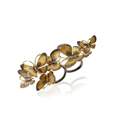 Butterflies 18ct Gold Diamond Cocktail Ring