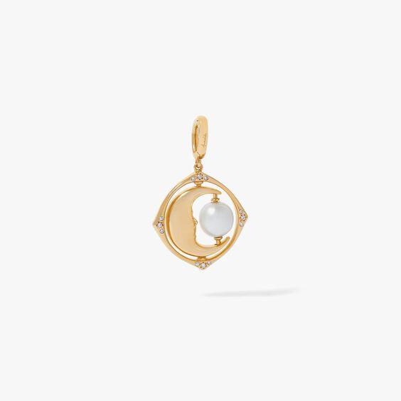 Mythology 18ct Gold Pearl Spinning Moon Mini Charm