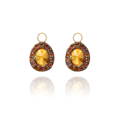 Dusty Diamonds 18ct Gold Citrine Earring Drops