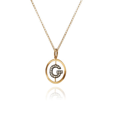 18ct Gold Diamond Initial G Necklace