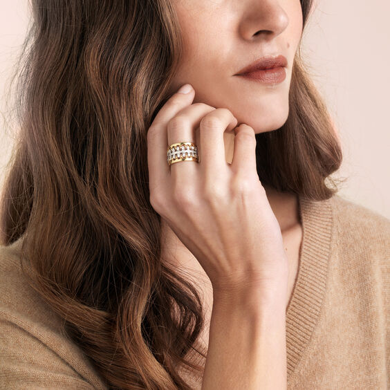 Crown Double Diamond Ring Stack in 18ct Mixed Golds | Annoushka jewelley