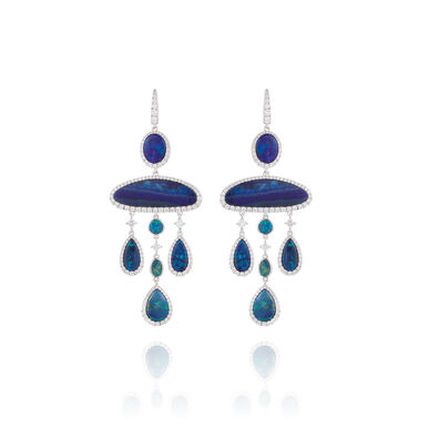 Unique 18ct White Gold Opal Chandelier Earrings