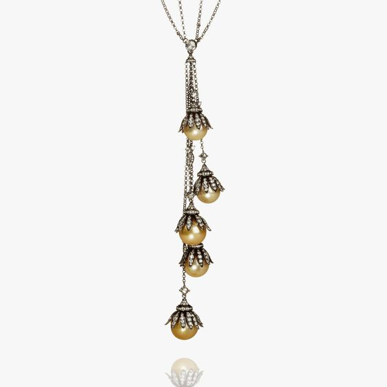 18ct White Gold South Sea Golden Pearl Diamond Necklace | Annoushka jewelley