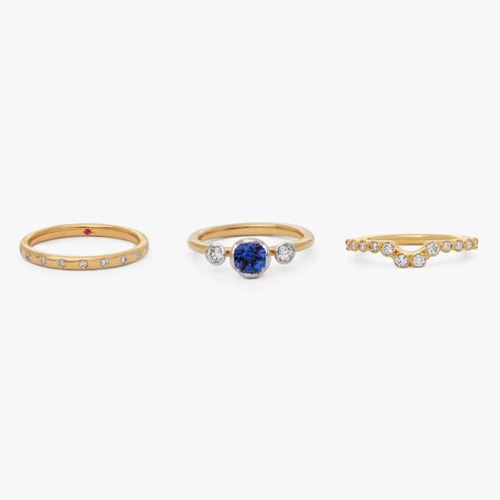 18ct Gold Tanzanite and Diamond Ring Stack