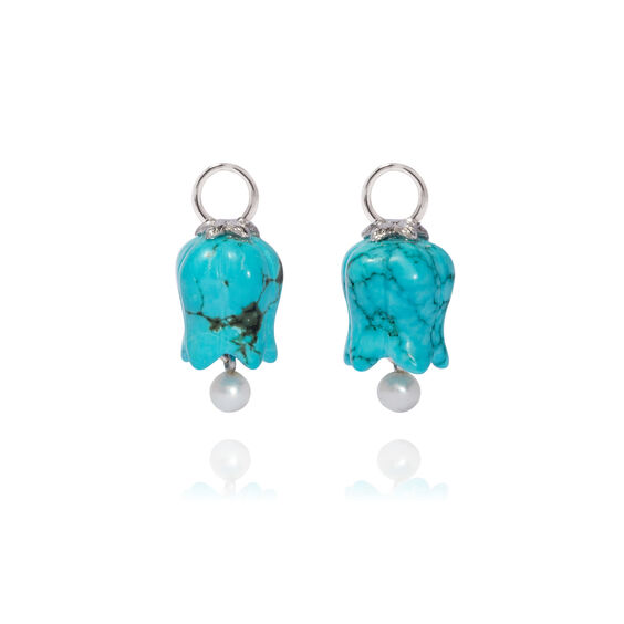 18ct White Gold Turquoise Tulip Earring Drops | Annoushka jewelley