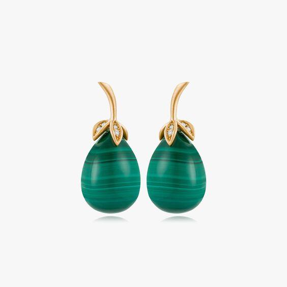 Unique 18ct Gold Malachite Diamond Drop Earrings   Annoushka jewelley
