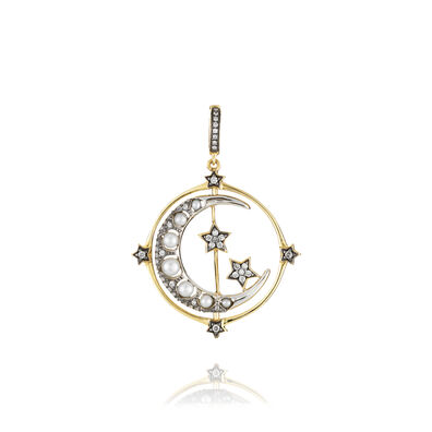 Mythology 18ct Gold Pearl Spinning Moon Charm