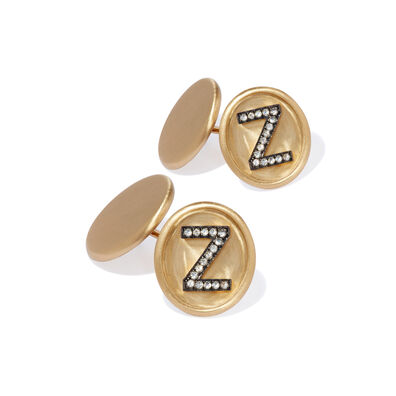 18ct Satin Gold Diamond Initial Z Cufflinks