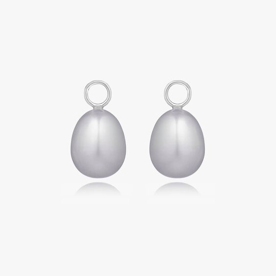 18ct White Gold Baroque Grey Pearl Earring Drops | Annoushka jewelley