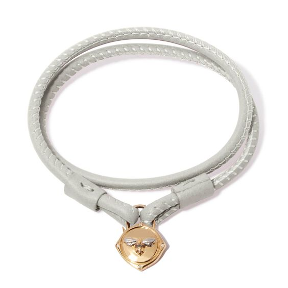 Lovelock 18ct Gold 35cms Cream Leather Bee Charm Bracelet   Annoushka jewelley