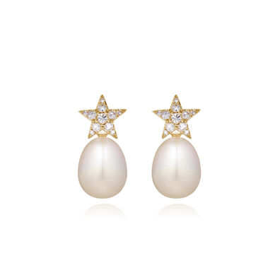 18ct Gold Diamond Pearl Star Earrings