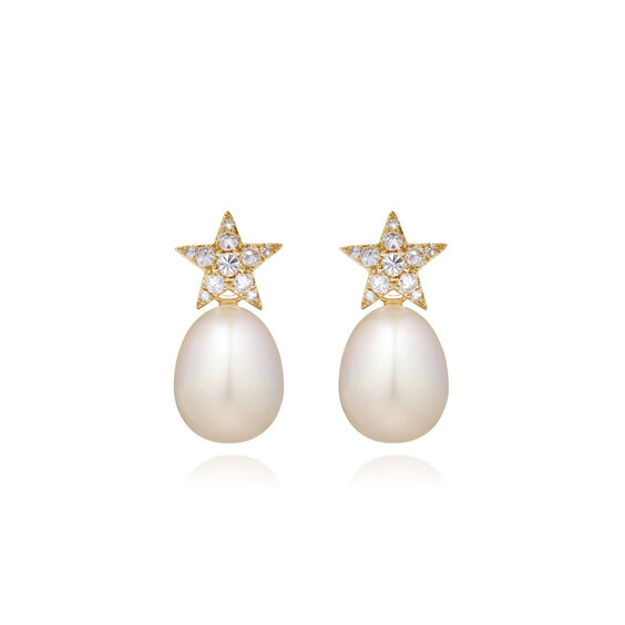 18ct Gold Diamond Pearl Star Earrings | Annoushka jewelley