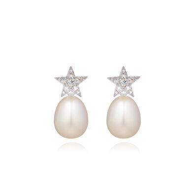 18ct White Gold Diamond Pearl Star Earrings