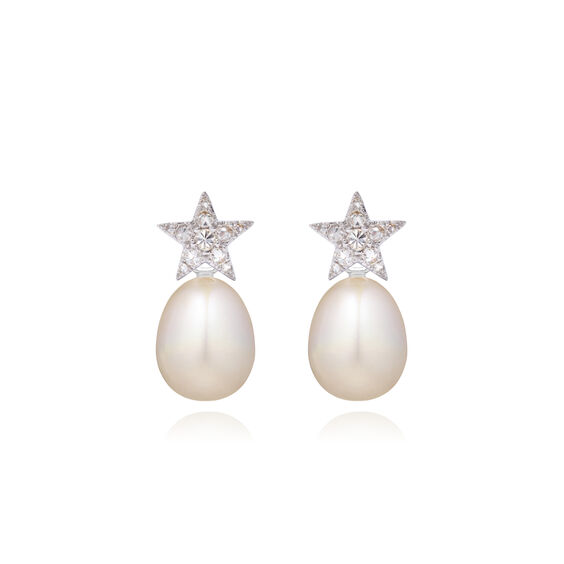 18ct White Gold Diamond Pearl Star Earrings | Annoushka jewelley