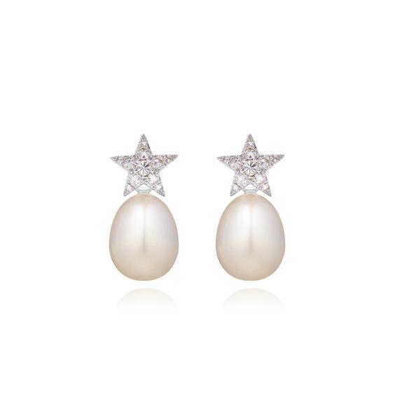 18ct White Gold Diamond Pearl Star Earrings | Annoushka jewelley