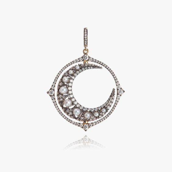 Mythology 18ct White Gold Diamond Spinning Moon Pendant   Annoushka jewelley