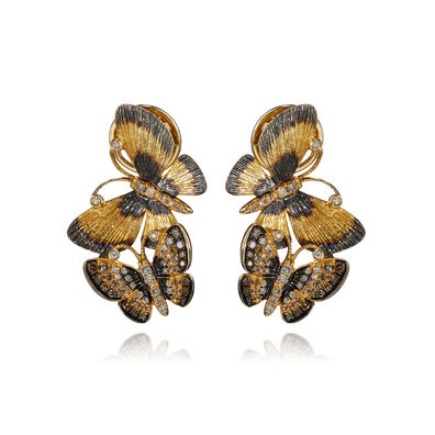 Butterflies 18ct Gold Diamond Duet Earrings