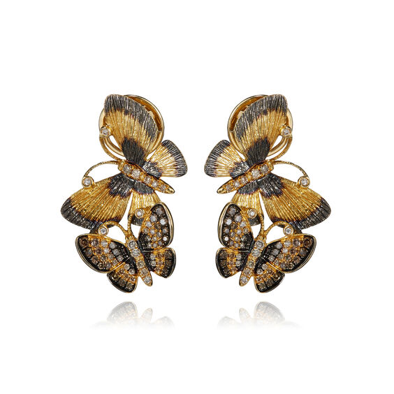 Butterflies 18ct Gold Diamond Duet Earrings