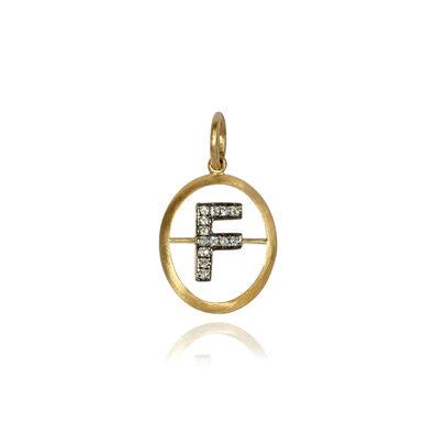 18ct Gold Diamond Initial F Pendant