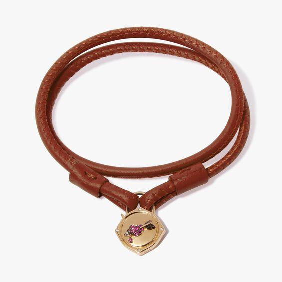 Lovelock 18ct Gold 41cms Brown Leather Heart & Arrow Charm Bracelet