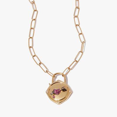 Lovelock 14ct Gold Mini Cable Chain Heart & Arrow Charm Necklace