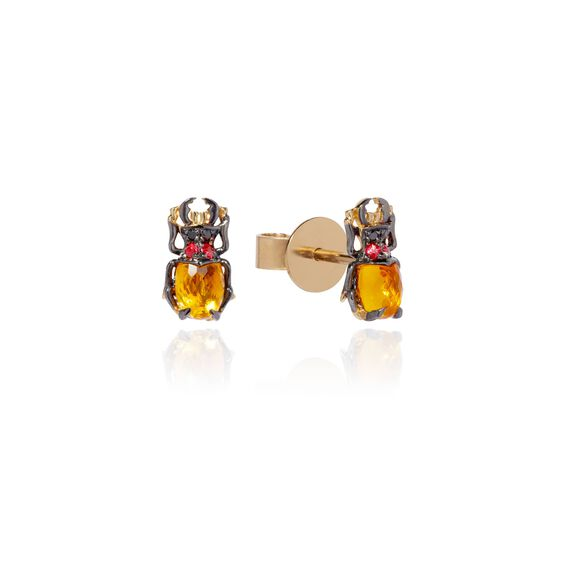 Mythology 18ct Gold Citrine Beetle Studs | Annoushka jewelley