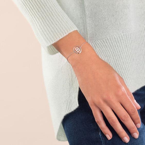 18ct White Gold Diamond Initial B Bracelet | Annoushka jewelley