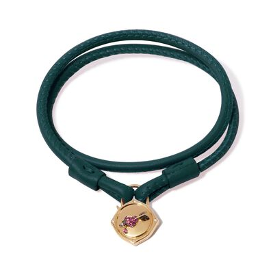 Lovelock 18ct Gold 41cms Green Leather Heart & Arrow Charm Bracelet