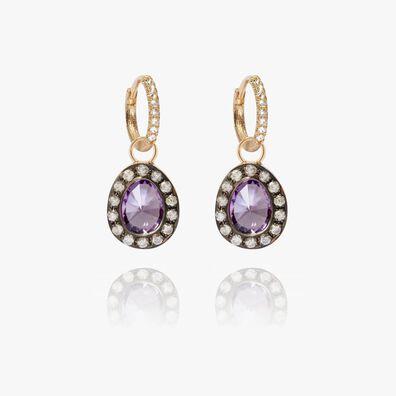 Dusty Diamonds 18ct Gold Small Amethyst Earrings