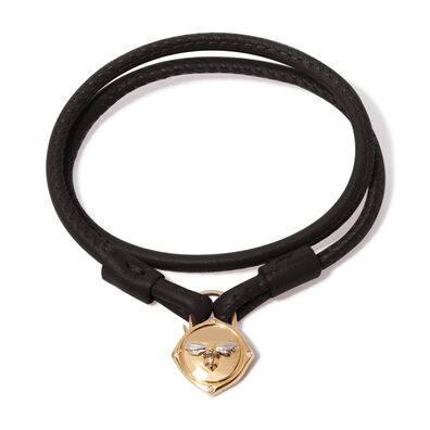 Lovelock 18ct Gold 35cms Black Leather Bee Charm Bracelet