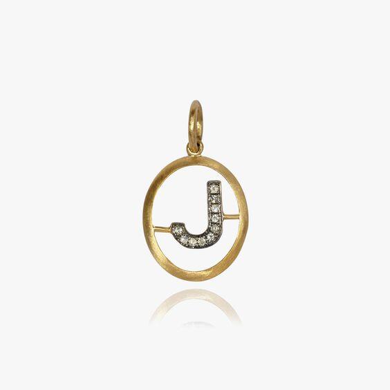 18ct Gold Diamond Initial J Pendant | Annoushka jewelley