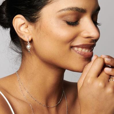 18ct White Gold Diamonds & Grey Pearl Earrings