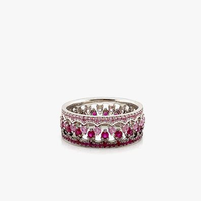 Crown 18ct White Gold Pink Sapphire and Ruby Ring Stack