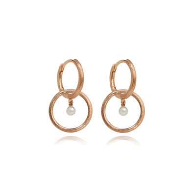 Hoopla 18ct Rose Gold Pearl Earrings