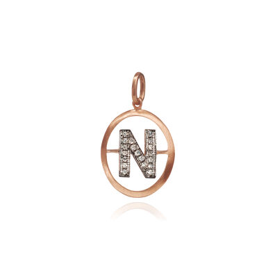 18ct Rose Gold Initial N Pendant