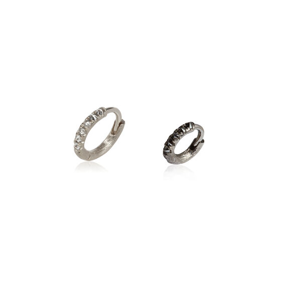 Dusty Diamonds 18ct White Gold Diamond 7.5mm & 10mm Hoops