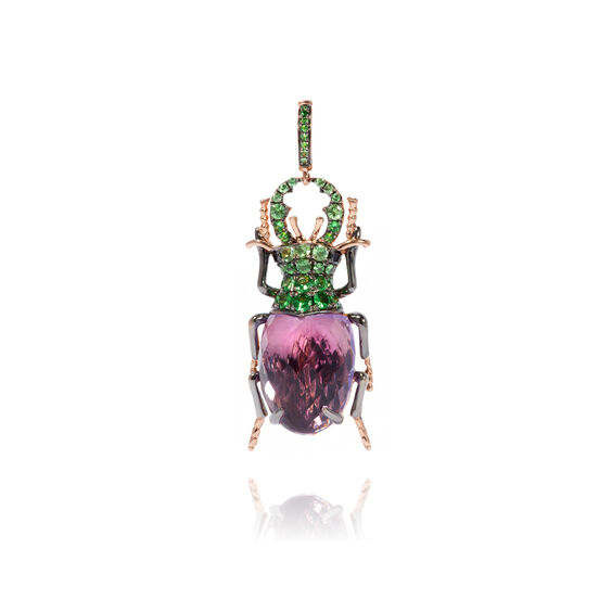 Mythology 18ct Rose Gold Amethyst Beetle Charm