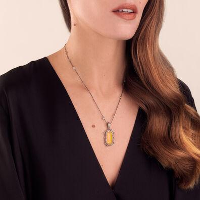 Unique 18ct White Gold Opal Diamond Pendant