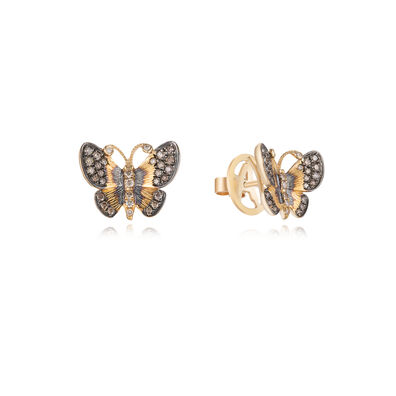Butterflies 18ct Gold Diamond Large Stud Earrings