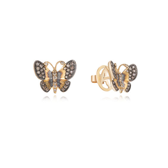 Butterflies 18ct Gold Diamond Large Stud Earrings | Annoushka jewelley