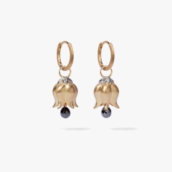 18ct Gold & Diamond Tulip Hoop Earrings