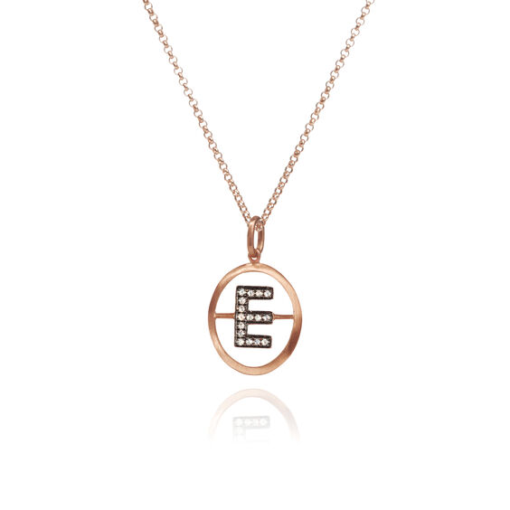 18ct Rose Gold Initial E Necklace   Annoushka jewelley