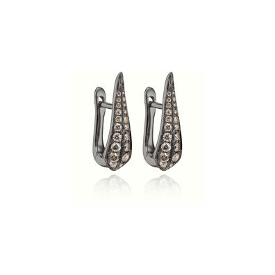 18ct White Gold Brown Diamond Hoop Earrings