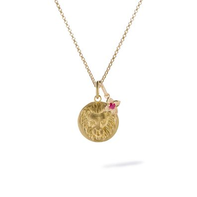 Gold Leo & Ruby July Birthstone Necklace