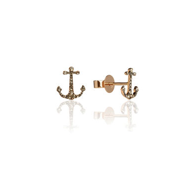 Love Diamonds 18ct Rose Gold Diamond Anchor Earrings